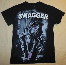 Pink Panther Cartoon Character Hip Hop Swagger T Shirt S Mens Black & Gray Print