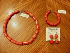 Red Coral w/18Kt Gold Over Sterling Silver New Kate Landry 3 Piece Set Genuine