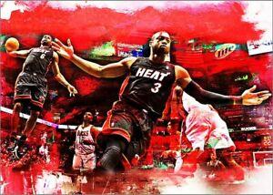 2021 Dwyane Wade & Lebron James Heat Basketball 1/25 Art ACEO Print Card By:Q