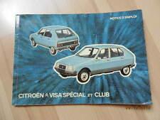 Notice d'utilisation CITROEN VISA Spécial & Club juillet 1979