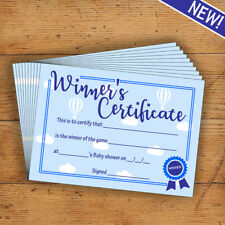 Baby Shower Certificate - Party Game Prize - Blue - Top Quality - 10 Pack