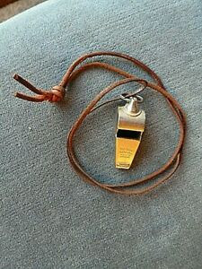 W (B1)  VERY GOOD ACME THUNDERER WHISTLE WITH LEATHER LANYARD