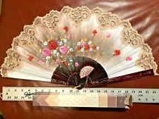 Big Vintage Abanicos Giner Spanish Hand Painted Folding Fan Artist Signed Spain