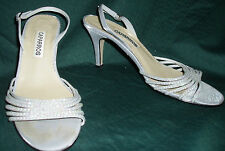 Sexy CAPARROS Dressy Sequin High Heel Open-Toe Sandal Shoes~Silver Gray~Size 6B