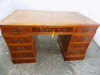 antique,large,repro,yew,pedestal,desk,writing,8 drawers,leather top,drawers,lock