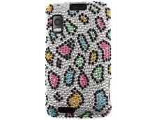 Diamond Snap On Phone Case Rainbow Leopard For Motorola ATRIX 4G