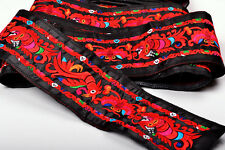 1 YD AISA RETRO TRIBAL EMBROIDERY LACE TRIM FABRIC RIBBON : WORM & BUTTERFLY =
