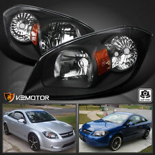 05-10 Chevy Cobalt 07-09 Pontiac G5 05-06 Pursuit Black Headlights Headlamps