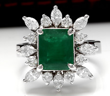 4.56Ct Natural Emerald & Diamond 14K Solid White Gold Ring