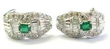 Green Emerald & Diamond Huggie Earrings 18Kt White Gold 1.50Ct FVVS2 17.5MM