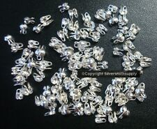 Necklace ends 3mm silver plated closed loop clam shell bead tips 100+pcs FPC098A