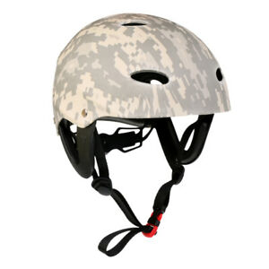 Adjustable Water Sports Safety Helmet Kayak Canoe   Hard Cap Digital Camo