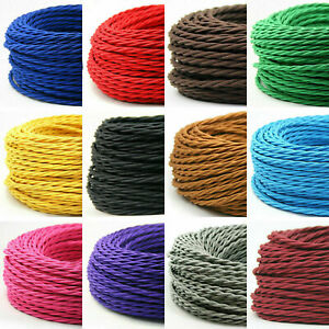 2Core Electrical Round Twist Wire 0.75mm Wire Flexible Vintage Fabric Cable Flex