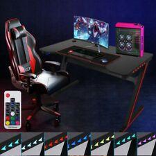 "E-sports Gaming Desk 47.2"" Z-shape Home Office Computer Pc Desk w/ Led Light Us"