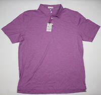 NWT Peter Millar Crown Soft Pima Cotton Silk Blend Polo Purple Striped XL $125