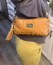 MICHAEL KORS MK Astor Luggage Brown Leather Grommet Tassel Clutch Wallet Purse