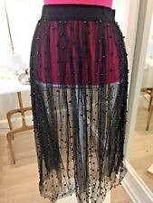 ZARA TRF COLLECTION BLACK MESH BEADED MIDI SKIRT SMALL NEW WITH TAGS