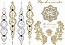 Temporary Flash Einmal Tattoo Classic gold Armband Hals Kette Henna 11teilig NEU