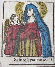 Rare image pieuse vignette XVIIIe aquarelle encre papier Sainte Françoise
