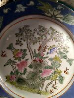 Vintage Chinese Asian Porcelain Charger Plate, Hand Painted Flowers And...