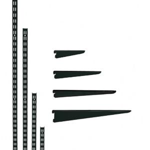 Twin Slot Shelving Black Uprights and Brackets Adjustable Strong Rack Wall Shelf