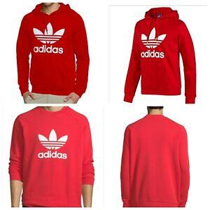 Adidas Original Men's Trefoil Red Hoodie and Crew Neck Sweat Shirt