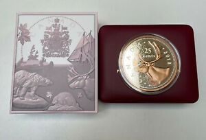 2018 Canada 25 Cent Rose Gold Plated Silver Big Coin Series 5oz Caribou