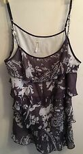 LAPIS L Purple Bead Spaghetti Straps Layered Fabric Fully Lined Cami Tank Top