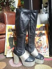 Vintage 70s Glam Rock Knee Length Platform Boots.Bowie,Slade Disco.Size 3.5 to 4