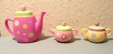 Child's Fake Play Polka Dot Spotted Play Toy Tea Set Plastic