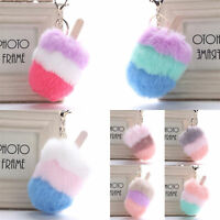 Ice Cream Rabbit Fur Pompom Key Chain Bag Charm Fluffy Puff Ball Keyring Gift