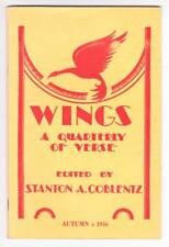WINGS A QUARTERLY OF VERSE Autumn 1956 - poem by Thomas Burnett Swann.