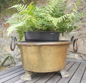 brass bowl, large antique French cache pot, plant pot, 33 cm.  planter