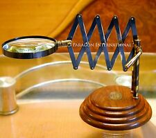 VINTAGE TABLE TOP BRASS MAGNIFIER DESKTOP CHAINNER MAGNIFYING GLASS WOOD BASE