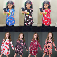 Toddler Kids Baby Girl Long Sleeve Christmas Clothes Princess Party Swing Dress