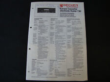 Original Service Manual becker autoradio Europa cassette Electronic mensajero 730