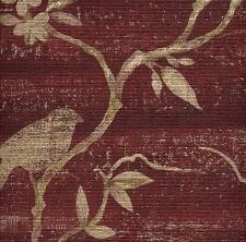 Beige Asian Branches with Birds on Textured Reddish Burgundy Wallpaper FD54220