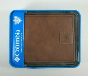 Columbia Mens Bifold Leather RFID Security Wallet 31CP130005 Black Tan Or Brown