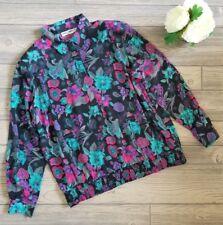 Women's Vintage ALFRED DUNNER Black Floral Shoulder Pads Top Blouse Shirt Sz 40