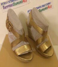 MICHAEL KORS Giovanna Metallic Leather Wedge Platform Sandals Shoes 9.5M $150.00