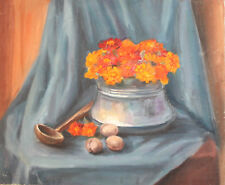 Vintage impressionist oil painting still life with flowers and walnuts