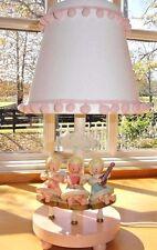 Vtg~IRMI~Nursery~Originals~Baby~Girl~Child~Angels~Fairies~Wooden~Pink~Lamp~Light