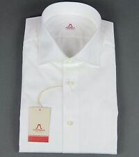 New Mattabisch Napoli Kiton Handmade White Dress Shirt Slim Size 18 45 NWT