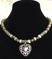 Filigree Heart Cats Eye Necklace  Silver Tone Green Brown Beads  Open Work