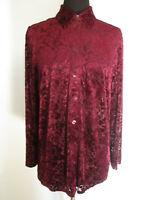 Womens Vintage Sz 12-14 Burgundy Velvet Flocked L/S Shirt Sheer Stunning VGC