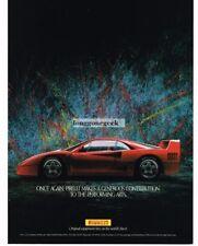 1988 Pirelli Tires Ferarri F40 Red Abstract Art Vtg Print Ad