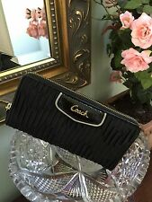 Coach Ashley Black Satin Wallet Gathered Zip Around Accordion  F48115 W3
