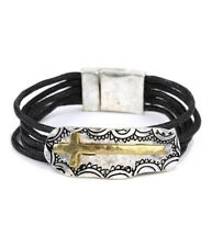 Cross Tribal Inspirational Magnetic Clasp Bracelet Silver Brass Tone QUALITY USA