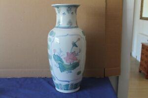 Very Large vintage pale Pink & Green shades floral design ornamental Vase