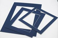 Blue Photo Picture Frame Mounts Bevel Cut 1.4mm White Core Mount board